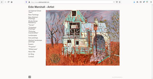 A screen capture of Edie Marshall's art portfolio website