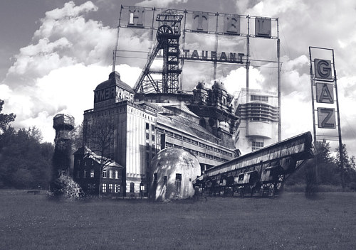 A collage image made up of fragments of industrial structures