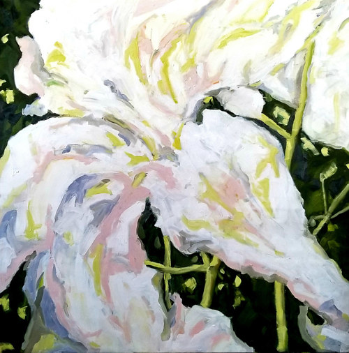 A close-up painting of a white lilly