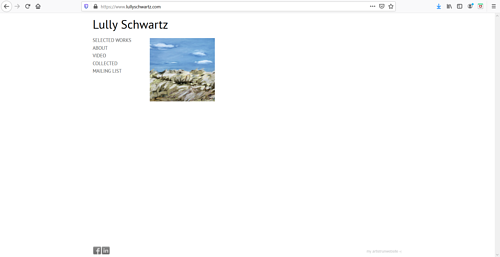A screen capture of Lully Schwartz' art portfolio website