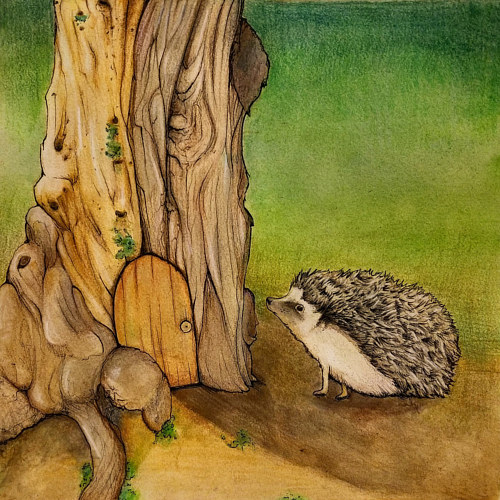 A painting of a hedgehog at a small front door