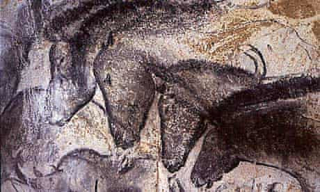 A photograph of black pigment in cave paintings dating back tens of thousands of years