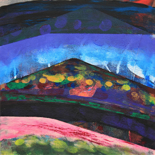 A painting of an abstracted landscape with deep jewel tones