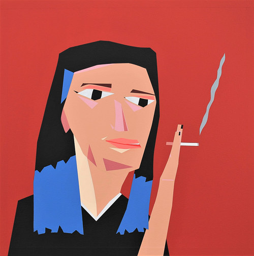 A painting of a woman smoking a cigarette