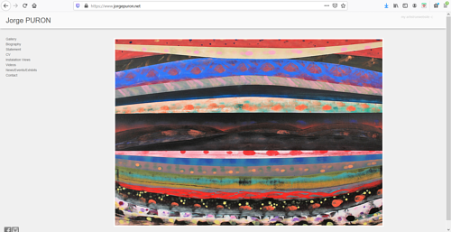 The front page of Jorge Puron's art portfolio website