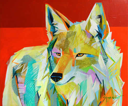 A painting of a coyote in bright colours