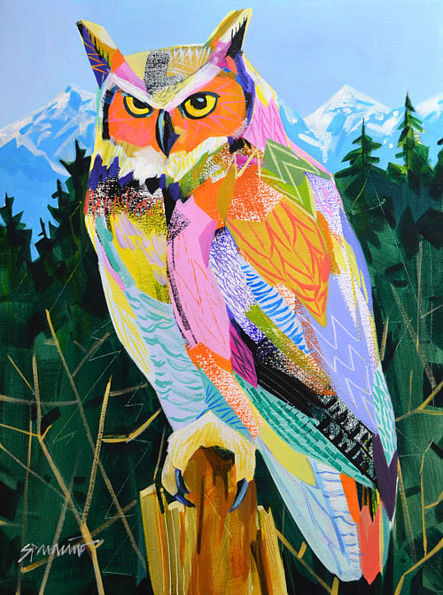 A painting of an owl against a forest background