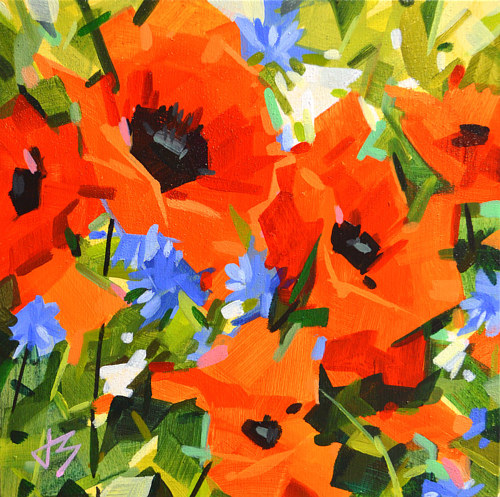 A painting of bright red poppies