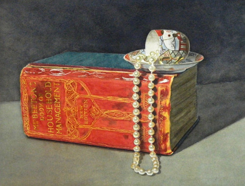 A painting of a teacup and pearls atop a thick book
