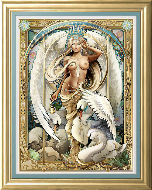 Echo Chernik's Swan. Nude woman with wings, surrounded by swans