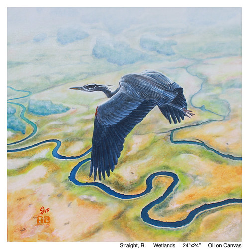 A painting of a bird flying over a wetland landscape