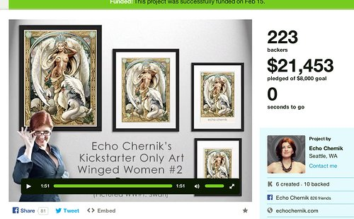 Screen capture of Echo Chernik's Kickstarter website