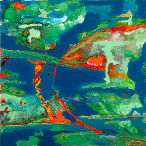 A painting with blue and green colours