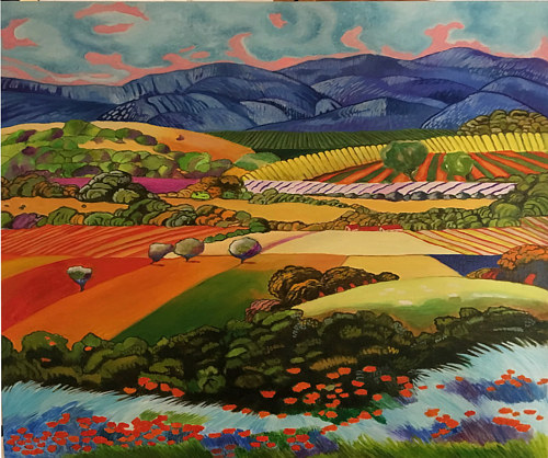 A painting of the foothills of the Sierra Madre