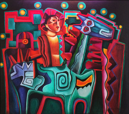 A painting of a horseman in an abstracted style