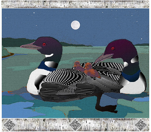 A mixed media artwork depicting two loons on a pond