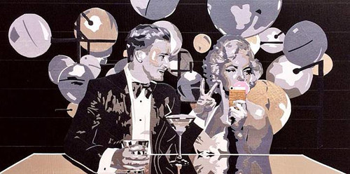 An artwork depicting Justin Timberlake and Marilyn Monroe at a bar