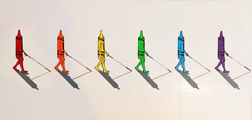 An artwork made from tape depicting blind crayons