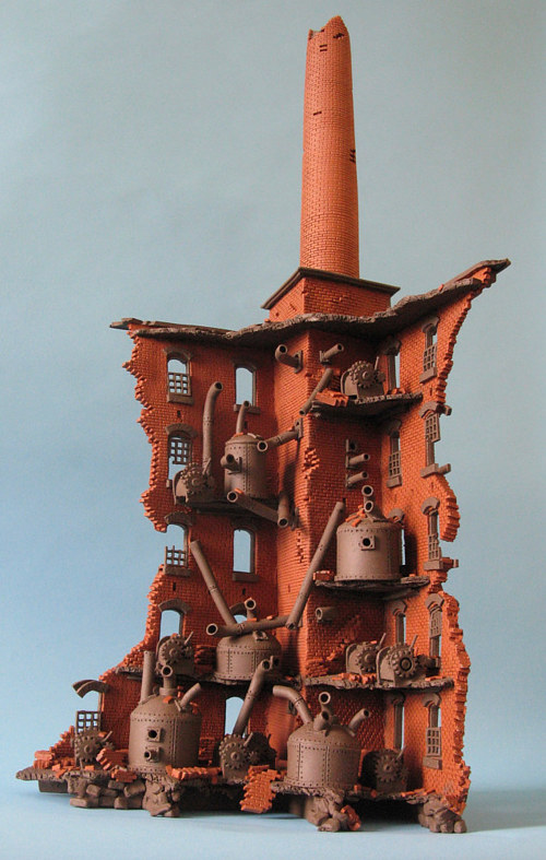 A sculpture of a ruined mill made from bricks