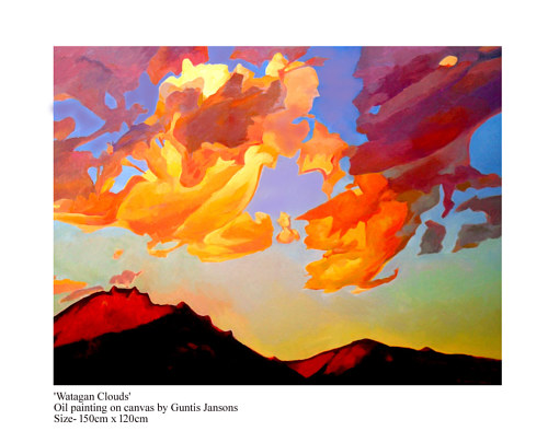 A painting of bright orange clouds at sunset