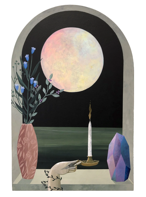 A painting of candles and a moon