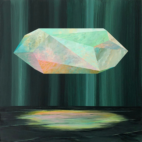 A painting of a large hovering crystal