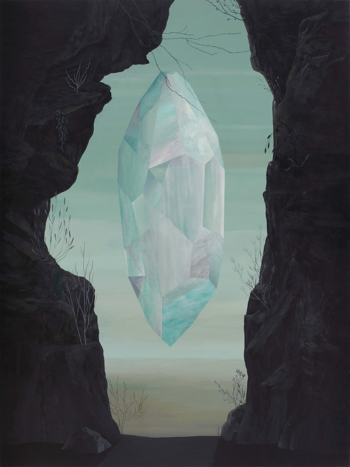 A painting of a white crystal seen through a gap in stone