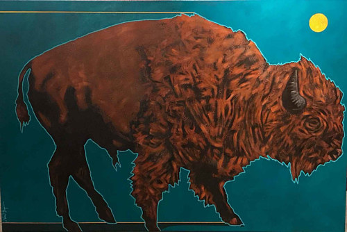 A painting of a buffalo