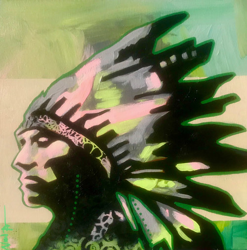 A stencil painting of a man wearing a traditional Comanche headdress
