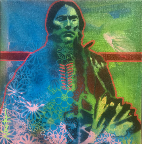A stencil painting of a traditional Comanche figure