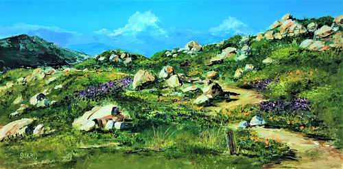 An acrylic painting of a rocky, grassy landscape