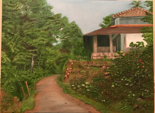 A painting of a house in a green, lush area