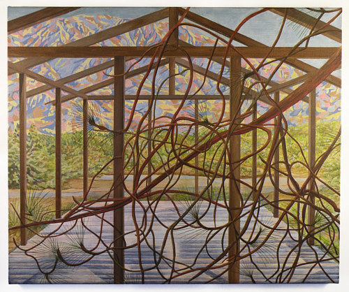 A painting of a structure with overlapping vines
