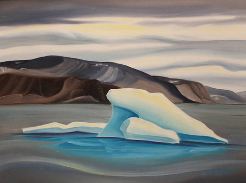 painting of an iceberg with a rocky shore in the background