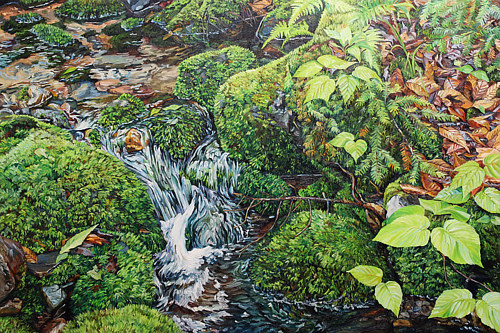A photo-realistic painting of a mossy brook