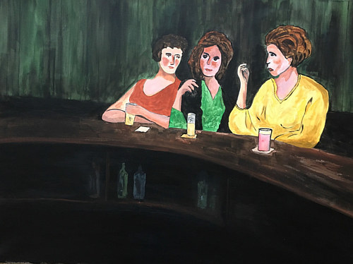 A painting of three friends sitting at a bar