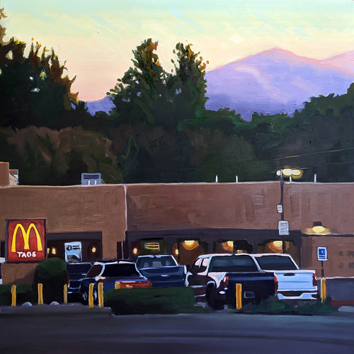 A painting of a McDonald's in Taos, New Mexico