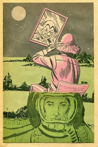 Collage of a clown looking into a mirror and an astronaut