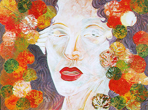 A painting of a face with flowers surrounding it