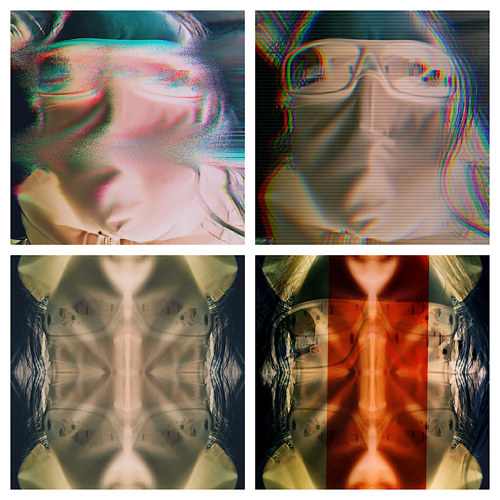 A digitally manipulated photo of four frames of a person's face