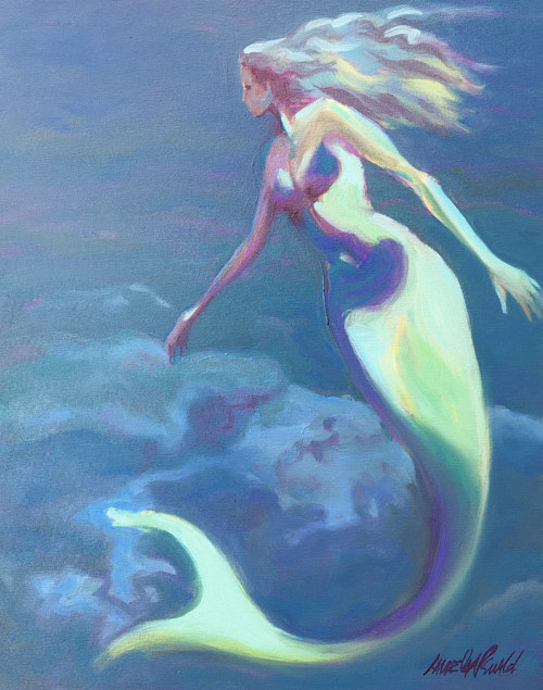 A painting of a mermaid underwater