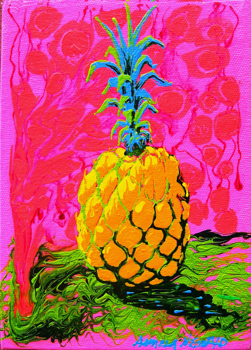 A painting of a brightly-coloured pineapple