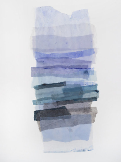 An abstract artwork depicting layers of blue and pale pigment