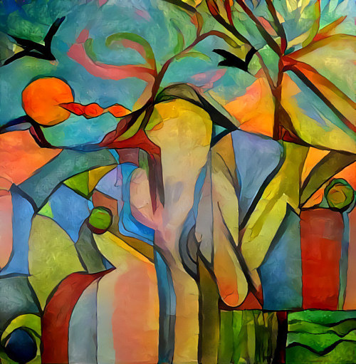 A print of a colourful abstract scene