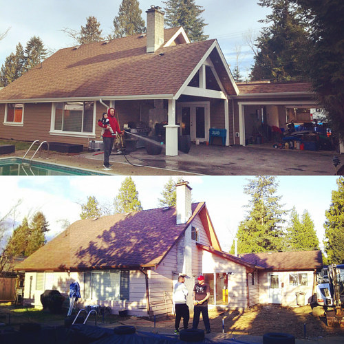 Before and after photos of an architectural project in Maple Ridge