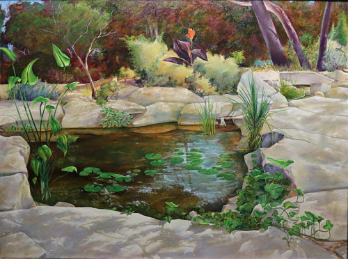 A painting of a pond in a backyard