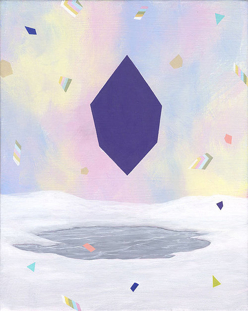 painting of a purple portal in a snow scene