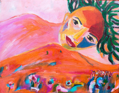 A painting of a figure with orange and red tones