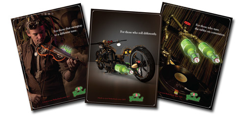 A series of visual advertisements for Grolsch beer