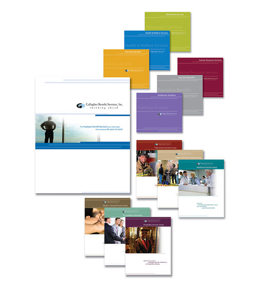 A selection of brochure and marketing material designs for an insurance company